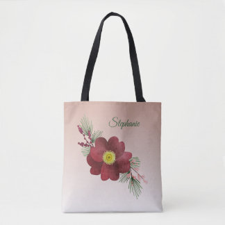 Burgundy Flower and Pine Boughs Holiday トートバッグ