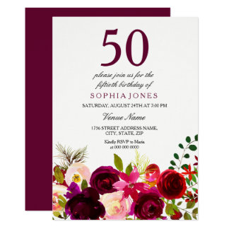 Burgundy Flowers 50th Birthday Party Invitation カード