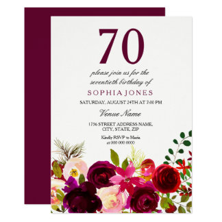 Burgundy Flowers 70th Birthday Party Invitation カード