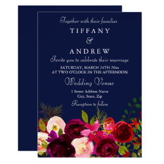 Burgundy Flowers Floral Navy Wedding Invitation カード