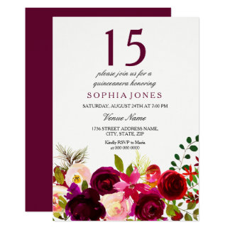 Burgundy Flowers Quinceanera Party Invitation カード