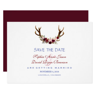 Burgundy Marsala Floral Antlers Save The Date カード