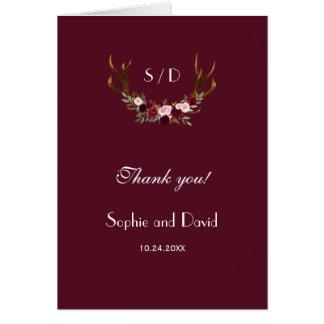 Burgundy Marsala Floral Antlers Wedding Thank you カード