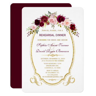 Burgundy Marsala Floral Fall Rehearsal Dinner カード