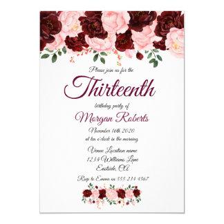 Burgundy Pink Rose 13th Birthday Party Invite カード