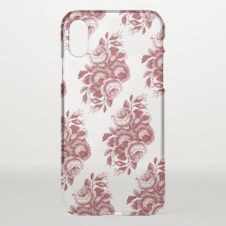 Burgundy Vintage Boho Rose Pattern iPhone X ケース