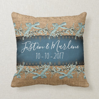 Burlap & Lace & bows Keepsake Anniversary Pillow クッション