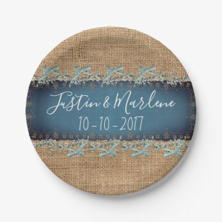 Burlap & Lace & bows Wedding or Anniversary Plates ペーパープレート