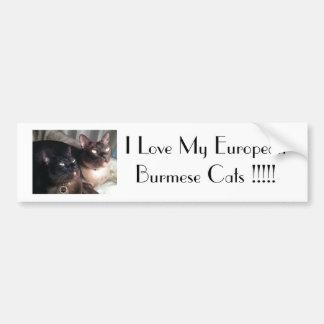 BurmeseDuo_18、私は私のヨーロッパのビルマ猫を…愛します バンパーステッカー