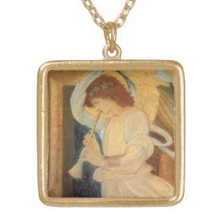 Burneジョーンズ著フラジオレットを遊ぶ天使 ゴールドプレートネックレス