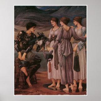 Burneジョーンズ著Perseusそして海ニンフ ポスター