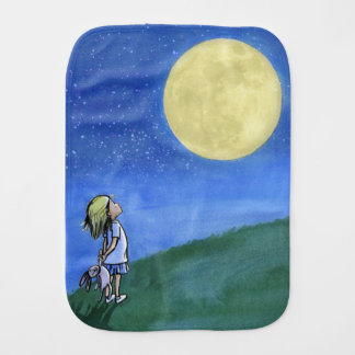 Burp cloth with a little girl looking at the moon バープクロス