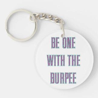 Burpee紫色のティール(緑がかった色)によってエッチングされるKeychainとの1があって下さ キーホルダー