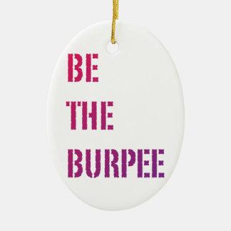 Burpee -ピンクの紫色の勾配--があって下さい 陶器製卵型オーナメント