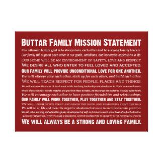 Buttar Family Mission Statement キャンバスプリント