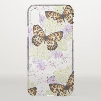 Butterflies Lilas Floral Custom Initials iPhone X ケース