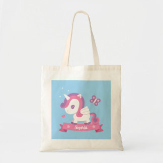 Butterfly and Unicorn with Wings Girls Tote Bag トートバッグ