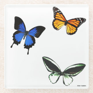 Butterfly Pattern Glass Coaster ガラスコースター