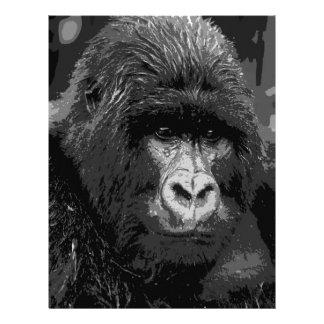 BWのゴリラの顔 レターヘッド
