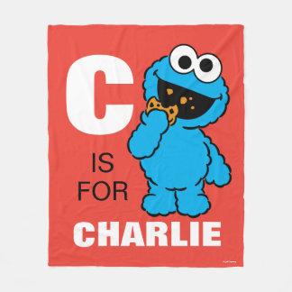 Cは があなたの名前を加えるクッキーモンスターのためです フリースブランケット