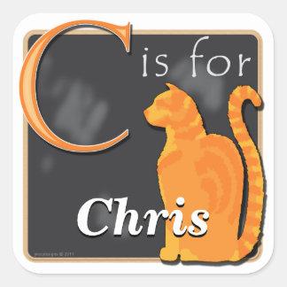 CはCによってがクリスのためである猫のためです スクエアシール