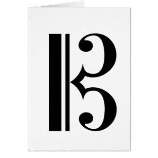 Cクレフ、音符記号の挨拶状 カード