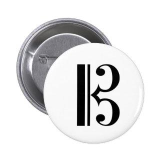 Cクレフ、音符記号ボタン 5.7CM 丸型バッジ