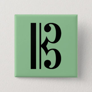 Cクレフ、音符記号音楽記号 5.1CM 正方形バッジ