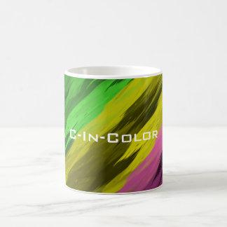 C色の多色刷りの斜めのプリント コーヒーマグカップ