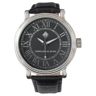 C11 -男性用ヴィンテージの黒の革バンドの腕時計 腕時計