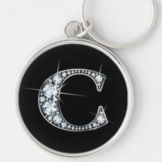 """""""C""""のダイヤモンドきらきら光るなKeychain キーホルダー"""