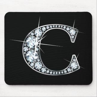 """C""のダイヤモンドのきらきら光るなマウスパッド マウスパッド"