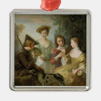 、c.1744-47 (キャンバスの油)嗅覚(見て下さい メタルオーナメント