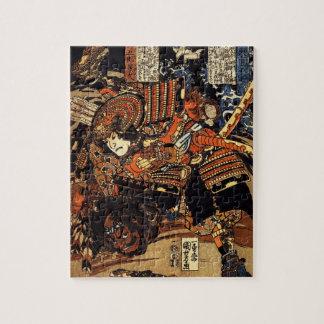 c.1800sを戦う武士の古く日本のな絵画 ジグソーパズル