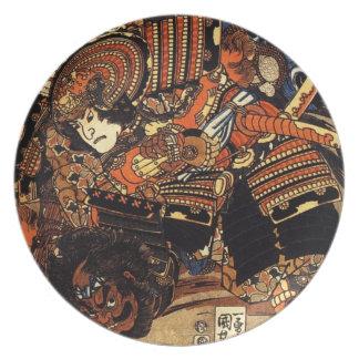 c.1800sを戦う武士の古く日本のな絵画 プレート