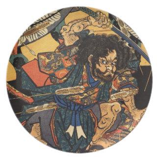 c.1800sを戦う武士の日本のな絵画 プレート