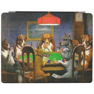 C.M. トランプのポーカーを遊んでいるクーリッジ犬 iPadスマートカバー