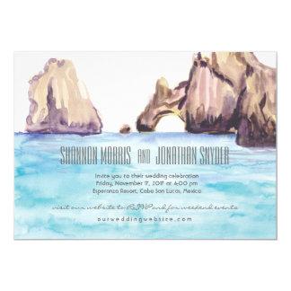 Caboメキシコの水彩画の結婚式の招待 カード