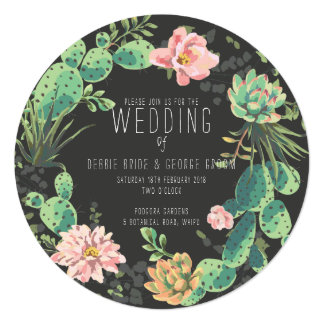 Cactus and Succulent Invitations, Wreath Wedding カード