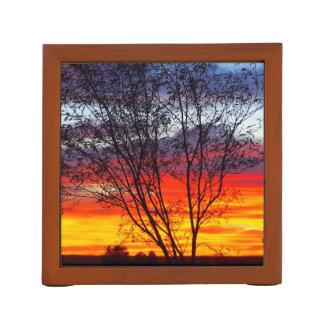 cady Julia Creekの日没のシルエットの机