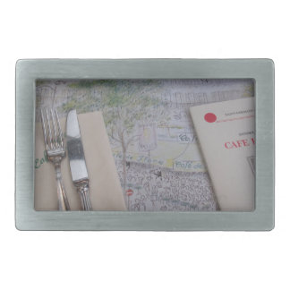Cafe de Flore、パリ、フランス-食器セット、メニュー 長方形ベルトバックル