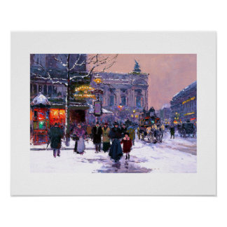Cafe de la Paix、Opera.Winter。 ファインアートポスター プリント