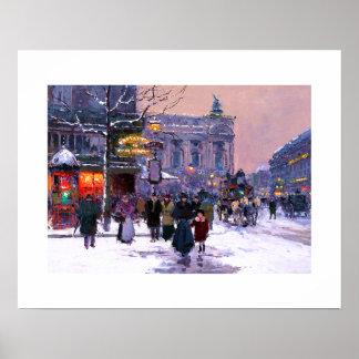 Cafe de la Paix、Opera.Winter。 ファインアートポスター ポスター