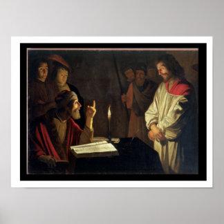 Caiaphas (キャンバスの油)の前のキリスト ポスター