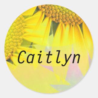 Caitlynの虹のヒマワリの一流のステッカー ラウンドシール