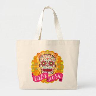 Calavera。 死んだメキシコ砂糖のスカルの日 ラージトートバッグ