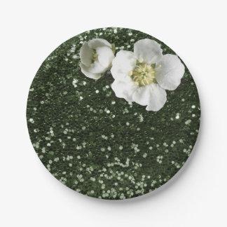 Caliの緑のスパンコールの花の白いジャスミンのグリッター ペーパープレート