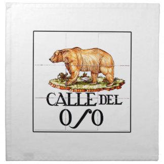 Calleのdel Oso、マドリードの道路標識 ナプキンクロス
