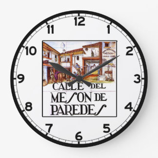 Calle de Meson de Paredesのマドリードの道路標識 ラージ壁時計