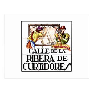 Calle de Ribera de Curtidoresのマドリードの道路標識 ポストカード